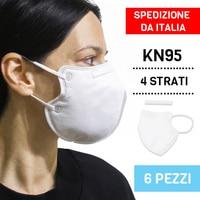 6 MASKS KN95 ≥ 95% BLISTER RESEALABLE 6 PCS EQUIVALENT FFP2 4 LAYERS Masks     -