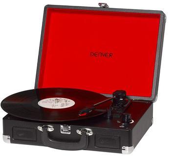 Поворотный стол DENVER VPL-118 с динамиками (2x1 Вт) записывающее устройство в ретро-стиле, режим записи ПК, USB кабель, цвет Black3 скоростей
