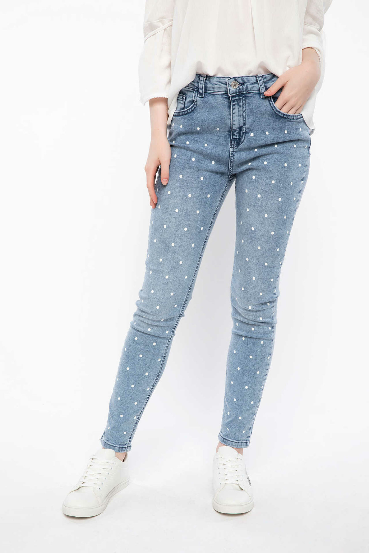 DeFacto Fashion Women Mid Waist Dot Blue Jean Trousers Casual Elastic Denim Female Pencil Crop Pants Lady New -J5944AZ18HS