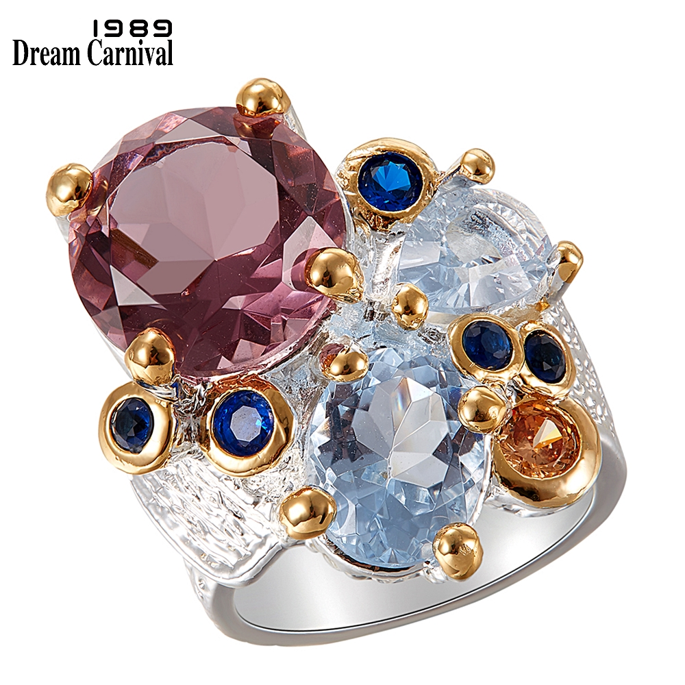 DreamCarnival1989 Super Elegant Women Engagement Rings Chic 2019 Lilac Tone Zircon Silver Gold Color Anniversary Jewelry WA11738