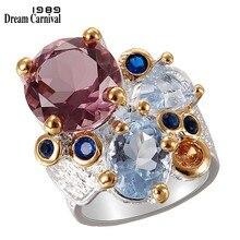 Dreamcarniment1989 anelli di fidanzamento da donna Super eleganti Chic 2019 tono lilla zircone due toni colori anniversario gioielli WA11738