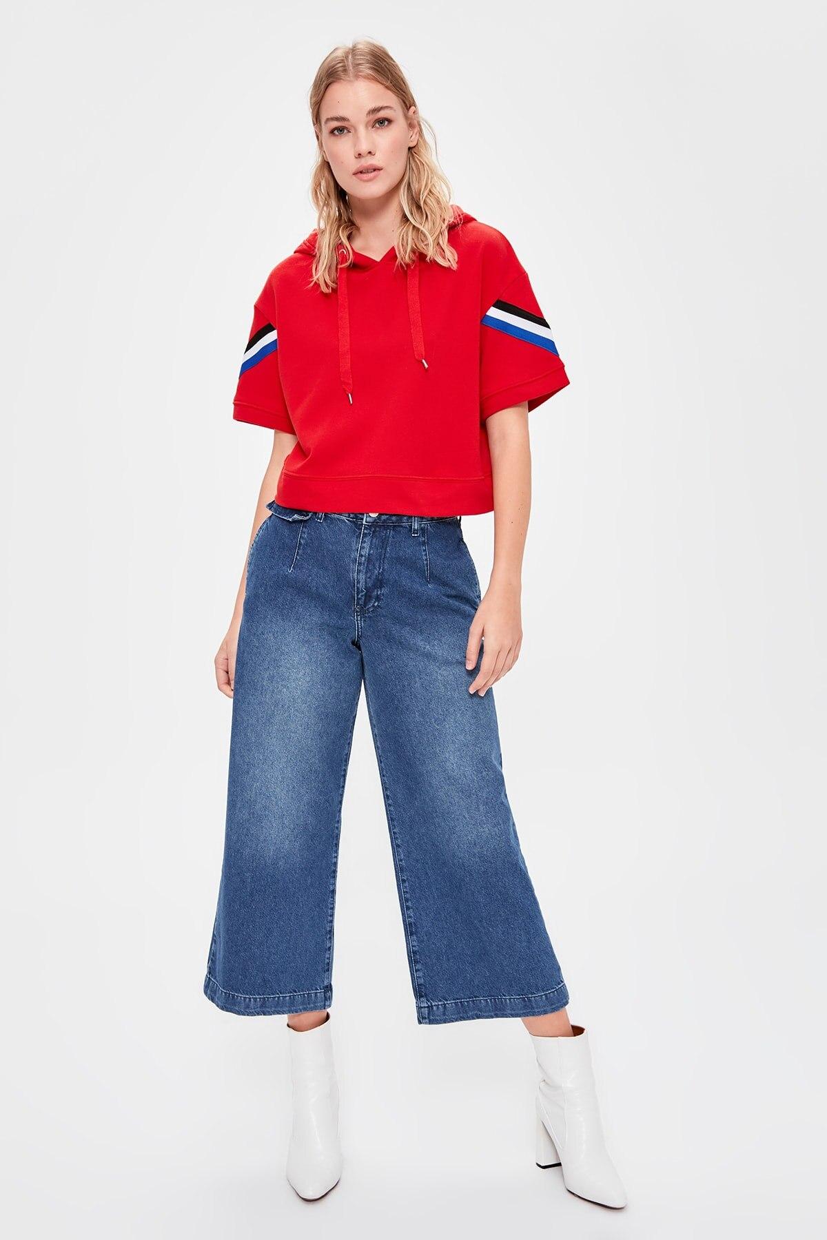 Trendyol Blue High Waist Culotte Jeans TWOAW20JE0162