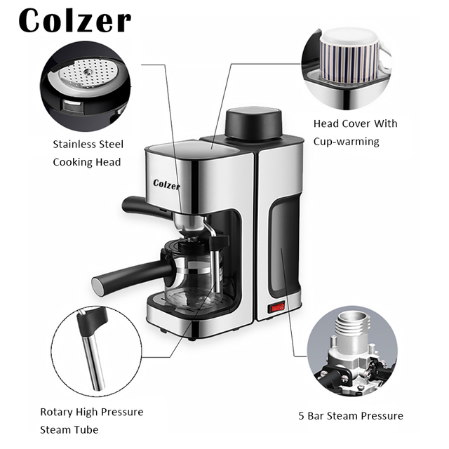Colzer Coffee Machine Steam Espresso Machine Automatically Froths Milk Freshly Ground Coffee Maker Cafetera Italiana Cafe Maker 2