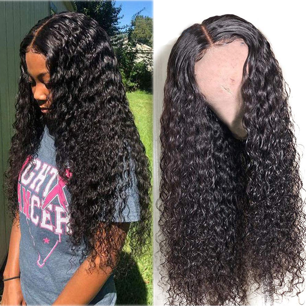 Mongolian Water Wave Lace Frontal Human Hair Wigs Pre Plucked With Baby Hair Glueless Wig 13x4 Water Curly Human Hair Wigs