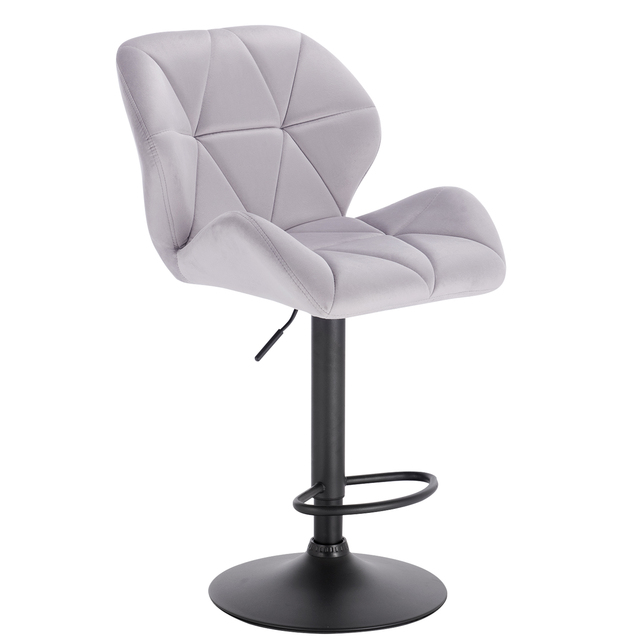 1PC Velvet Bar Chairs Breakfast Dining Stools Adjustable Swivel Gas Lift Steel Footrest Base Kitchen Island Counter Bar Stools
