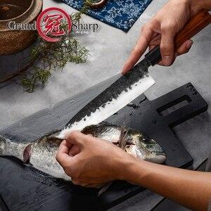 Image 2 - Santoku bıçak el dövme 7 inç 3 katmanlar japon AUS10 yüksek karbonlu paslanmaz çelik şef mutfak pişirme araçları eko dostu