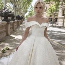 Glänzende Prinzessin A Line Hochzeit Kleid Schatz Weg Schulter Gericht Zug Swanskirt DY10 Brautkleid Angepasst Vestido de novia