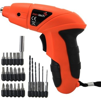 Irontech Li-Ion Battery Rechargeable Drill Driver 24 Part Screw Set 3.6V 180RPM 1300MAH Home Aksesurar home Appliances Small Practical drill driver rechargeable sturm cd3212l
