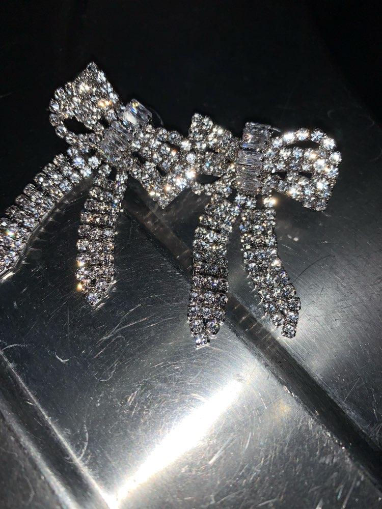 Zircon Bow tassel Dangle Earrings Silver Gold Crystal Earrings For Women Fashion Jewelry Wedding Drop Earrings Accessories