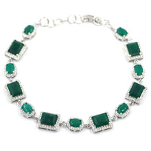12x10mm Romantic Real Green Emerald White CZ Ladies Engagement Silver Bracelet 8.5-9.5inch