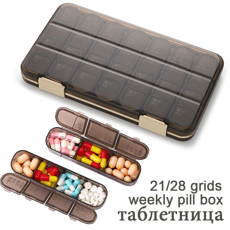 Weekly Pilll Box Large Capacity Medicine Dispenser 7 Day Tablet Organizer Storage Box Compartment Pill Case Container Pastillero