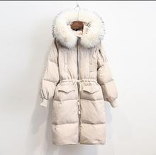 그란데 테일 chaqueta mujer hiver parka véritable fourrure de raton laveur blanc canard une une femmes épaissir marque manteau