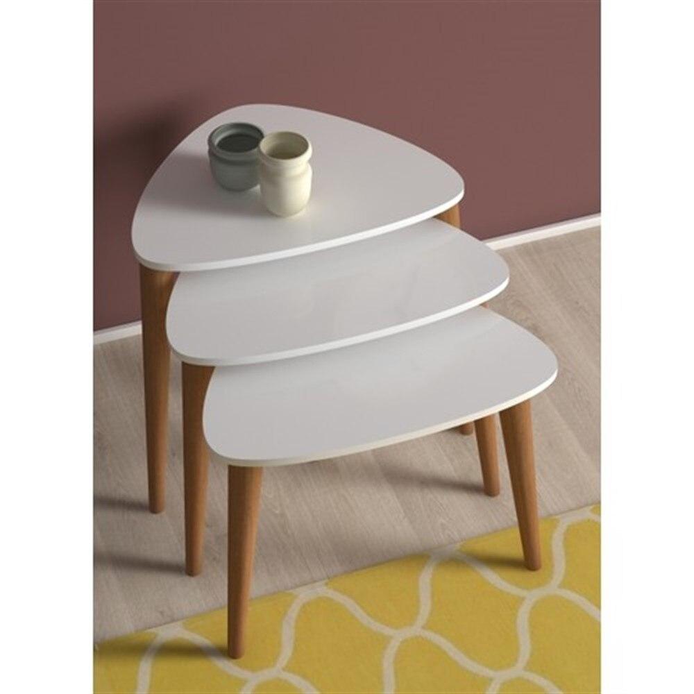 Hecho en Turquía 3 piezas mesas de centro blanco Mini moderno práctico Durable mesas de té sala de estar Zigon madera Hogar Accesorios