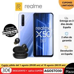 Smartphone realme X50 5G 6 GB dur 128 GB dur Snapdragon 765G 6.57 120Hz FHD + 30W version espagnole + realme bourgeons Q écouteurs TWS