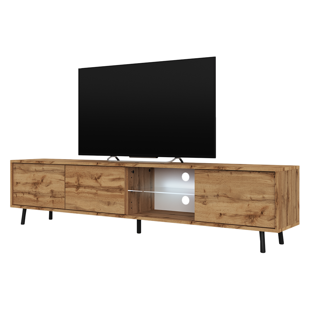 SELSEY GALHAD - Meuble tv / Meuble de salon - 175 cm - chêne wotan 4