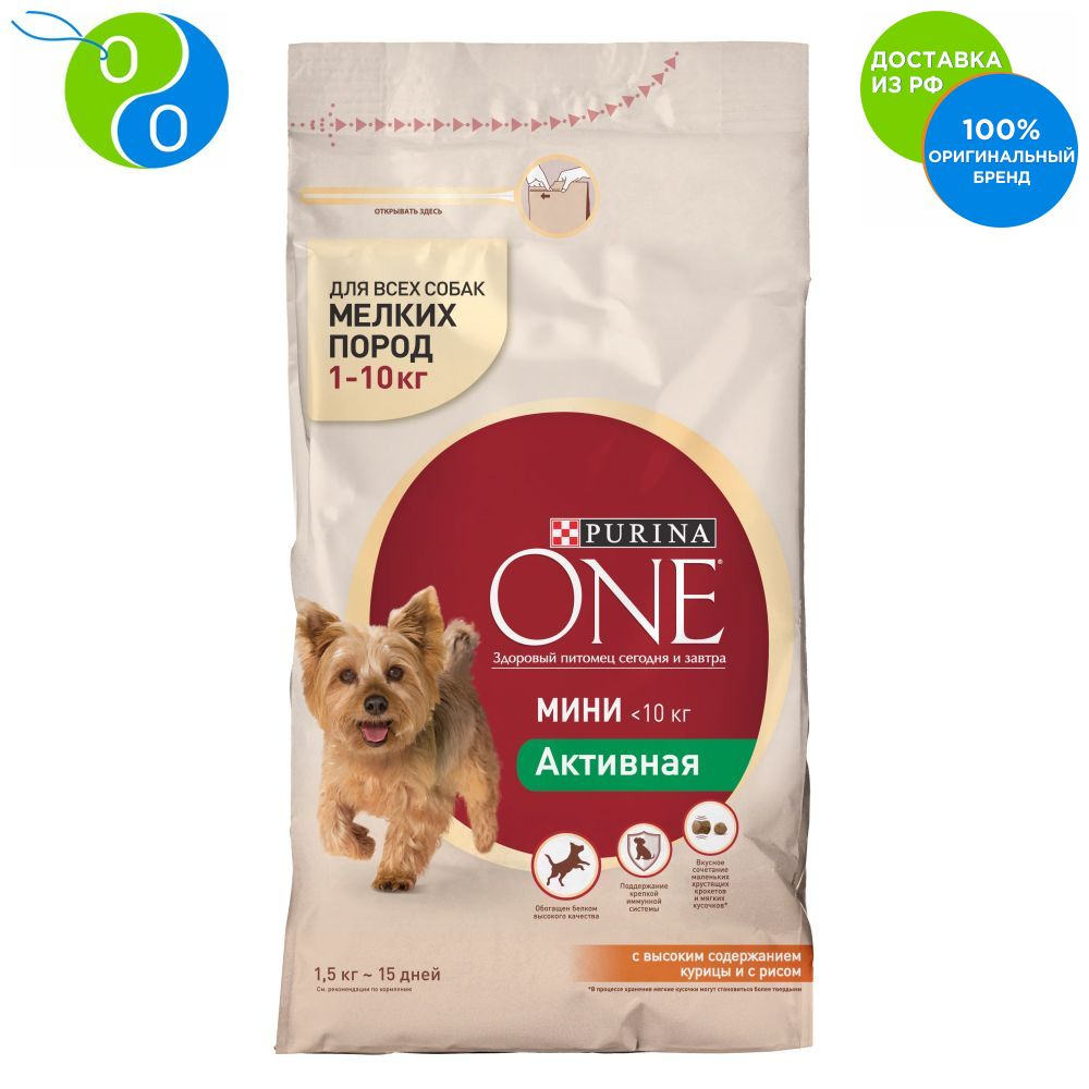 Set of dry food for dogs of small rocks Purina ONE MINI Active, chicken and rice, package, 1.5 kg x 6 pcs.,one mini, ONE MINI, Purina, Purina One, Purina ONE MINI, Purina One Dog, purina van, Pyrina, Adult cats Adult d цена