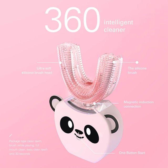 Smart U 360 Degrees Kids Sonic Electric Toothbrush Music Silicon Automatic Ultrasonic Teeth Tooth Brush Cartoon Pattern Children 4