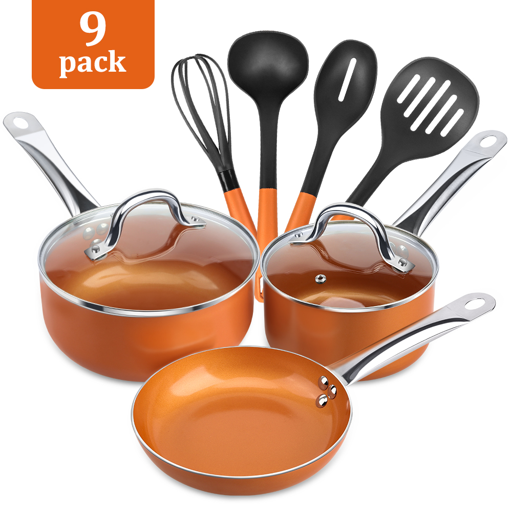 Cookware-Set Copper-Pan-Induction Fry-Basket Soup And Chef-W/glass-Lid 9piece