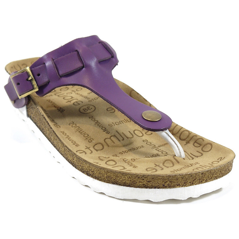 SOULMATE SANDALS CARA Interchangeable Woman Toe Thong Genuine Leather Flip Flop PURPLE Casual Beach Ladys Flat Sandals