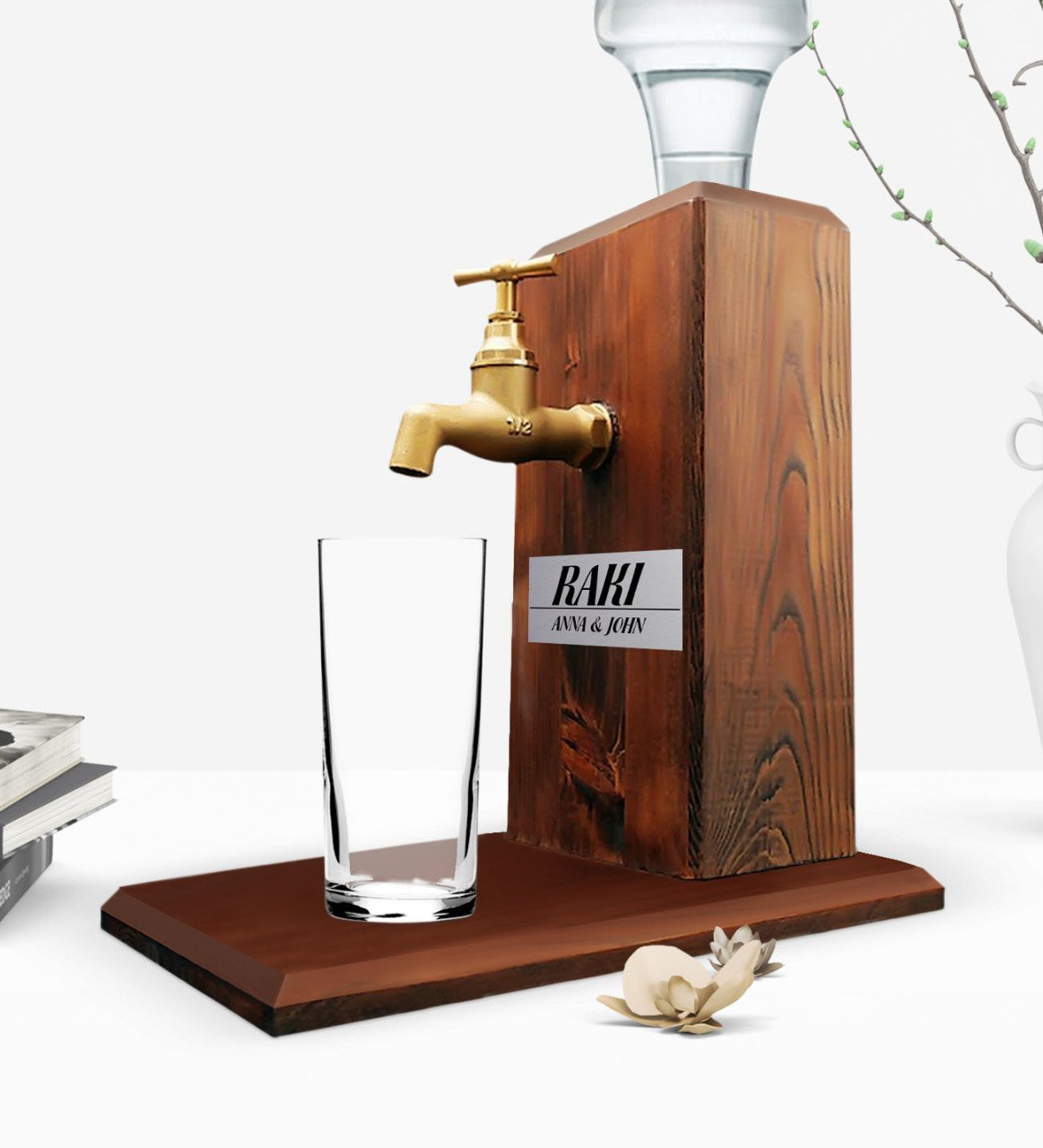 Custom Wooden Natural Rack Stand With Tap - Walnut
