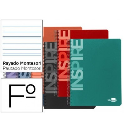 SPIRAL NOTEBOOK LEADERPAPER FOLIO INSPIRE HARDCOVER 80H 60 GR STRIPED MONTESSORI 5MM MARGIN ASSORTED COLORS 10 Units