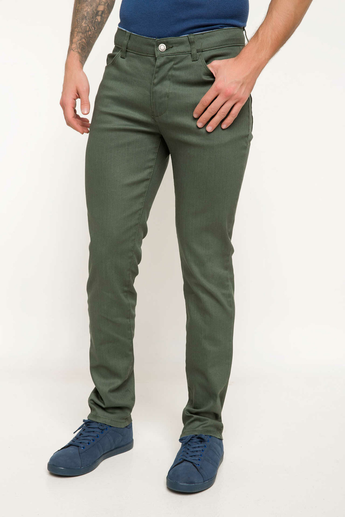 DeFacto Man Spring Green Long Pants Men Casual Mid-wasit Fit Slim Bottoms Male Smart Casual Trousers-I5157AZ18SP