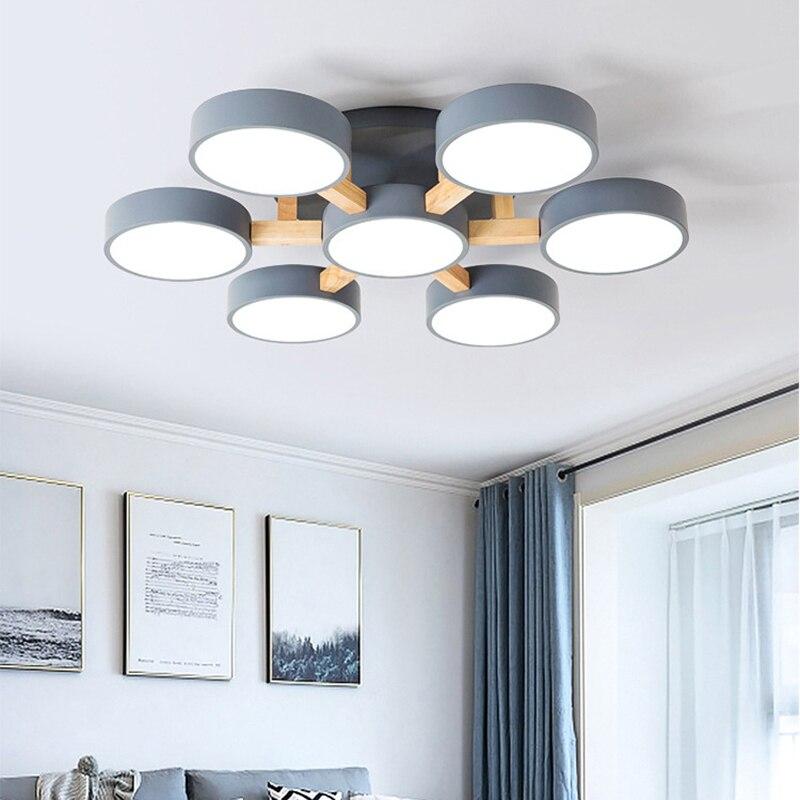 Modern Simple Nordic 220V LED Ceiling Light White Grey Green Metal Shade Wooden Lamp Bedroom Living Room Villa Hotel Pendant Lig