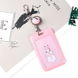 1 PC 은행 신용 카드 홀더 버스 ID 카드 소지자 여자 남자 패션 카드 가방 키 체인 귀여운 만화 카드 케이스 열쇠 고리 반지