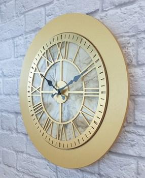 Markakanvas marmurowy wzór złoty (złoty) zegar ścienny tanie i dobre opinie TR (pochodzenie)