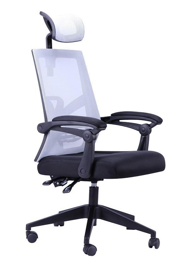 Office Armchair RINGO, Gas, Synchro, Mesh Gray, Black Fabric