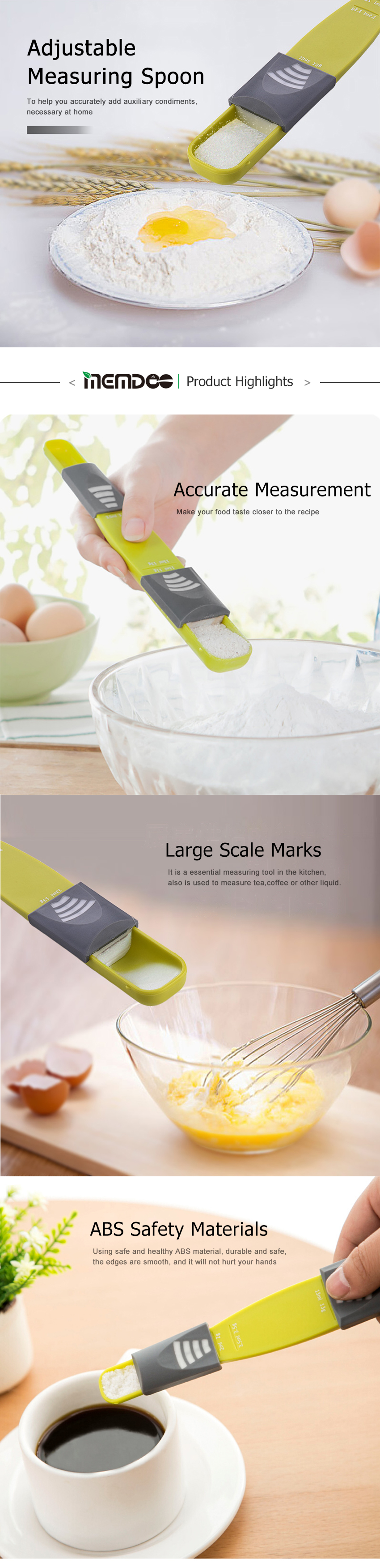 MEMDOO 1pcs Measure Cup Double End Height Stools Adjustable Scale Measuring Spoons Measuring Spoon Baking Kitchen Tool